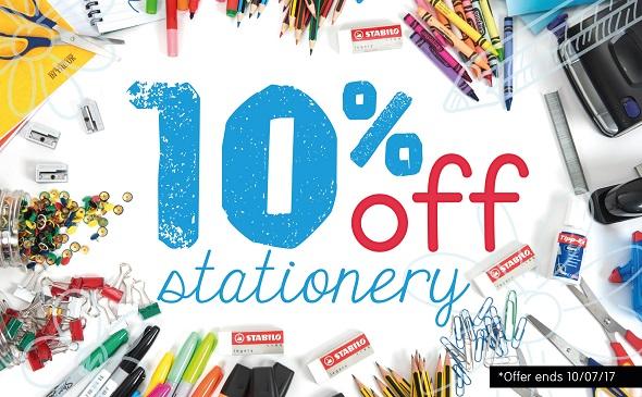 10% off Stationery